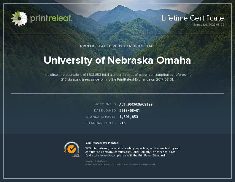 University of Nebraska Omaha   PrintReleaf